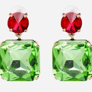 Red Swarovski Crystal/Square Emerald Earrings